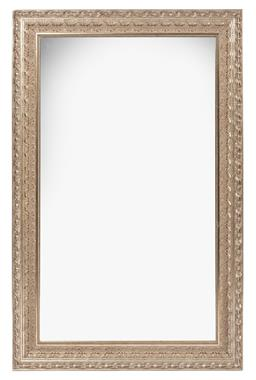 Sale 9130S - Lot 11 - An ornate silvered decorative framed mirror, Height 135cm x width 85cm