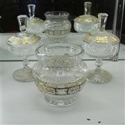 Sale 8306 - Lot 41 - Large Bowl with Gilt Highlights & a Matching Pair of Lidded & Footed Bowls