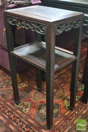 Sale 8317 - Lot 1004 - Chinese Rosewood Side Table, with pierced apron & lower tier (repair to small section of apron)