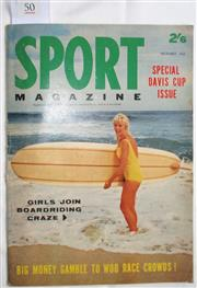 Sale 8431B - Lot 50 - Front cover plus Sport Magazine's Special on Surfriding section for 1963–64. Dec 1963 pages 23–35. Articles on the Hazards of Surfin...