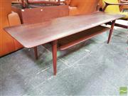 Sale 8451 - Lot 1007 - Peter Hvidt Rosewood Coffee Table w Rattan Shelf Below