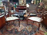 Sale 8576 - Lot 1045 - Two Late Victorian Inlaid Mahogany Armchairs, both with elaborately pierced & marquetry backs, upholstered in striped fabric, one wi...