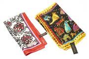 Sale 8605 - Lot 379 - COACH AND LAUREL BUNCH SILK SCARVES; Coach floral pattern (54 x 54cm), Laurel Bunch with multicoloured dog design (29 x 134cm).