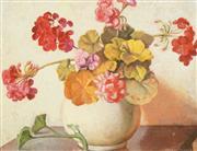 Sale 8755 - Lot 562 - Miriam Moxham (1885 - 1971) - A Vase of Geraniums 35 x 44cm