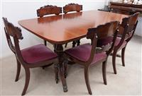 Sale 8963H - Lot 86 - A Regency style mahogany dining table with single leaf on turned pedestals, Height 76cm x Width 1m x Length unextended 181cm, length...