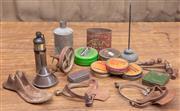 Sale 8984H - Lot 39 - A group lot of wares including vintage tins, cast iron shoe last, copper funnel etc.