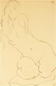 Sale 9021 - Lot 593 - Dorothy Thornhill (1910 - 1987) - Kneeling Gretel 22 x 14.5 cm (frame: 36 x 29 x 2 cm)