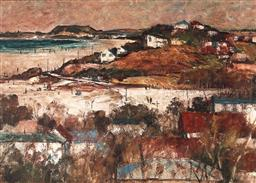Sale 9125 - Lot 554 - George Feather Lawrence (1901 - 1981) Coastal Town & Beach Scene, 1960 oil on board 48.5 x 68.5 cm (frame: 70 x 90 x 3 cm) signed an...