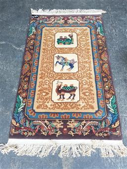 Sale 9129 - Lot 1069 - Embossed middle eastern rug with camels and horses (160 x 91cm)