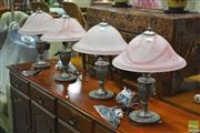Sale 8289 - Lot 1078 - Set of Four Glass Table Lamps