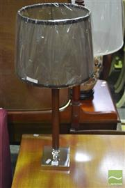 Sale 8341 - Lot 1054 - Pair of Brown Leatherette & Chrome Table Lamps (5702Brn)