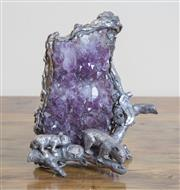 Sale 8489A - Lot 35 - An Australian themed amethyst and white metal sculpture of wombats and gumnuts, H 15cm