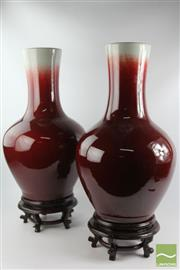 Sale 8512 - Lot 72 - Flambe Large Pair Of Glazed Vases on Stands