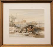 Sale 8990 - Lot 2070 - John Sterchele (1946 - ) - Boats at the Dock 48.5 x 59 cm (frame: 78 x 89 x5 cm)