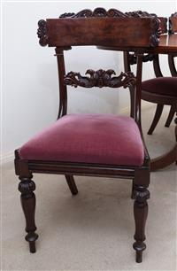 Sale 8963H - Lot 87 - A set of five interesting William V dining chairs with bar top rails and bird carved back rails, velvet drop in seats and turned fac...
