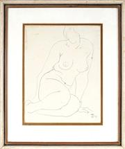 Sale 9028 - Lot 2014 - Dorothy Thornhill (1910 - 1987) - Linear Nude, 1975 26 x 20 cm (frame: 40 x 33 x 3 cm)