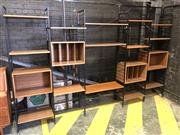 Sale 9022 - Lot 1014 - Extensive 5 Bay Ladderax System with Metal Frame and Teak Cabinetry