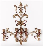 Sale 9087H - Lot 29 - A gilded and painted wall sconce. 72cm height, 62cm width