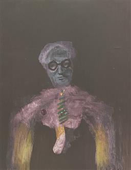 Sale 9123J - Lot 25 - Sidney Nolan Figure mixed media 29x24cm signed lower right, signed & dated 69 verso