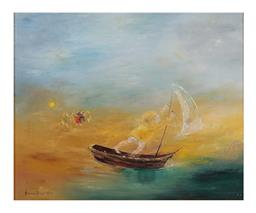 Sale 9245J - Lot 30 - David Boyd - Sailing & playing by the Lake oil on canvas signed & dated 197 lower left