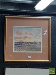 Sale 8552 - Lot 2015 - Duncan Goldfinch (1888 - 1960) - Sunset Behind Hindmarsh, 1956 18.5 x 21cm