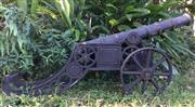 Sale 8579 - Lot 64 - A cast iron cannon display with surface rust, L 164cm