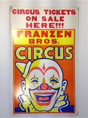 Sale 8600A - Lot 18 - Vintage Franzen Bros. Circus poster c. 1960s, H 56 x W 36cm.