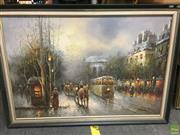 Sale 8648B - Lot 2092 - G. Sherman, European Street Scene, oil painting, 60 x 90cm, SLR