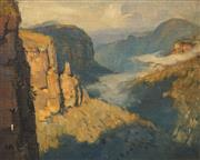 Sale 8665 - Lot 590 - Albert Fullwood (1863 - 1930) - Overlooking the Gorge 21 x 27cm