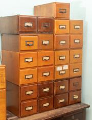 Sale 8795A - Lot 86 - Five banks of four drawer timber card filers, two doubles and a single one in various sizes