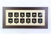 Sale 8818N - Lot 674 - Framed Diorama of Chinese Zodiac Animals,