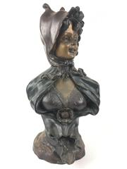 Sale 8995H - Lot 89 - A bronze bust of a female wearing a hat, height 53cm