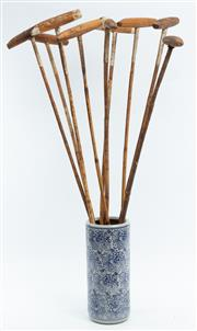 Sale 8960J - Lot 66 - Collection of Polo mallets, doesnt include stick stand, each length approx 130cm
