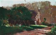 Sale 9013 - Lot 548 - Sydney Long (1871 - 1955) - Afternoon Picnic 14.5 x 23.5 cm (frame: 26 x 35 x 4 cm)