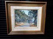 Sale 9061 - Lot 2012 - John Emmett, The Sunny Road to Coxs River, Kanimbla Valley, Blue Mountains oil on canvas board frame: 33 x 38 cm. signed lower right