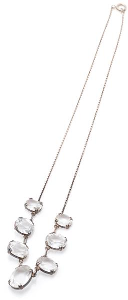 Sale 9149 - Lot 323 - A VINTAGE SILVER ROCK CRYSTAL NECKLACE; cable link chain attached with 7 graduated oval cut rock crystals (9.90 x 8 -15.6 x 11.7mm)...