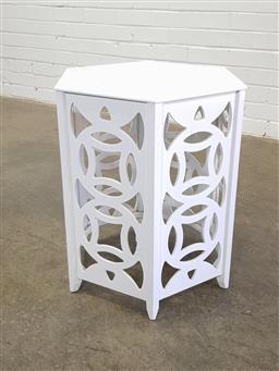 Sale 9146 - Lot 1062 - Pierced timber side table (h55 x d43cm)