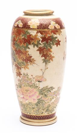 Sale 9170H - Lot 60 - A Satsuma vase featuring birds amongst Japanese maple leaves, Height 22cm, marked Bizan to base
