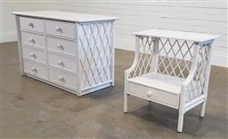 Sale 9191 - Lot 1077 - Painted timber & cane 8 drawer chest (h76 x w120 x d54cm) & a matching bedside