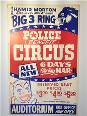 Sale 8600A - Lot 19 - Vintage Big 3 Ring Police Benefit Circus poster c. 1970s, H 56 x W 36cm.