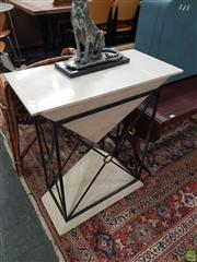 Sale 8601 - Lot 1513 - Composite Pyramid Form Side Table on Metal Stand