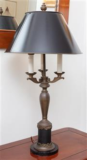 Sale 8902H - Lot 43 - A patinated and black painted metal table lamp in the French taste, with black tin shade, height 75cm