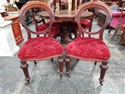 Sale 8925 - Lot 1087 - A set of six 19th century cedar balloon back cut velvet buttoned upholstery seats, bears BADA label