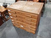 Sale 9039 - Lot 1097 - Vintage Oak 2 Piece Map Chest (H80 x W80 x D66cm)