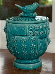 Sale 9066H - Lot 33 - A turquoise glazed and lidded jar with bird design and finial. H 27cm