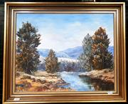 Sale 9061 - Lot 2009 - Patricia Souter, Along the Coter River, ACT, oil on canvas board, frame: 49 x 59 cm, signed lower left