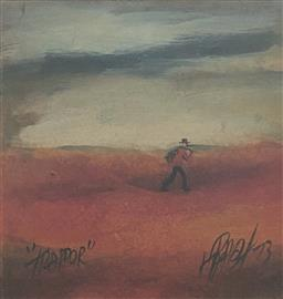 Sale 9123J - Lot 27 - Pro Hart Trapper oil on board 22x22cm, signed & dated 73 lower right