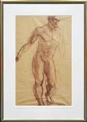 Sale 8309A - Lot 97 - G. Robertson (XX) - Standing Male Nude, 1980 70 x 44cm