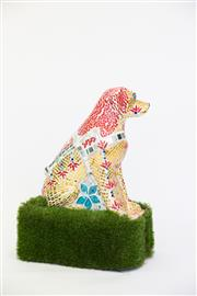 Sale 8479G - Lot 30 - Tiffany Mitchell - Golden Happiness. Its the Year of the Earth Dog! A dazzling golden and red mosaic Guide Dog is dressed up to c...