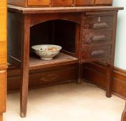 Sale 8795A - Lot 88 - A timber three drawer desk, Height 76cm, Width 91cm, Depth 51cm